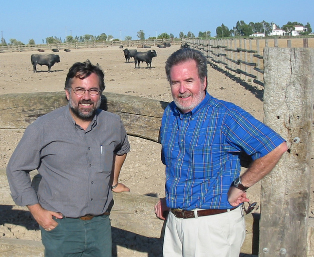 Juan Carlos González Faraco (l) and Michael Murphy (r) at a bull-fighting ranch outside of Coria del Río, Spain